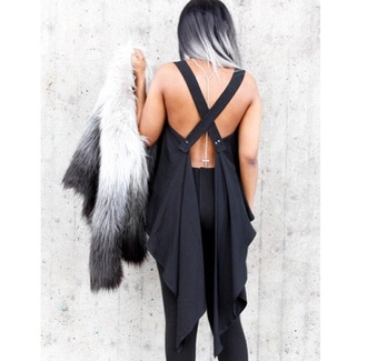 blouse open back minimalist flowy spring summer black top cross back open back dresses open back top all black everything h&m fashion style summer top blogger