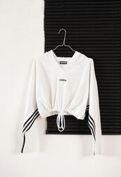sweater,black and white,nike,adidas collection,cute,adidas,adidas sweater,drawstring,black adidas logo,black,white,sportswear,stripes,winter sports,winter sweater,adidas 3 stripes,active wear,effortless top,top,cropped,drawstring at the bottom