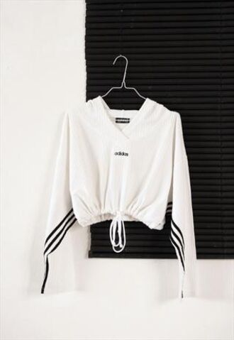 sweater black and white nike adidas collection cute adidas adidas sweater drawstring black adidas logo black white sportswear stripes winter sports winter sweater adidas 3 stripes active wear effortless top top cropped drawstring at the bottom