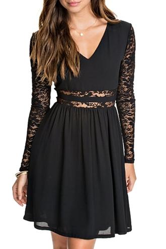 dress lace lace dress black black dress little black dress v neck back to school zaful long sleeve dress bohemian bohemian dress