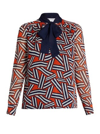 blouse print orange top