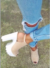 shoes,jeans,nude,platform shoes,chunky heels,brown high heels,boyfriend,blue,blue jeans,pink shoes,boyfriend jeans,beige suede shoes,cute high heels,cleated sole platforms,lug sole,pink,heels,high heels