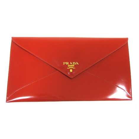 Prada Ruby Red Patent Leather Envelope Clutch w/Box