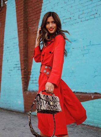 dress red dress red purse rocky barnes instagram midi dress shirt dress spring dress long sleeve dress blogger