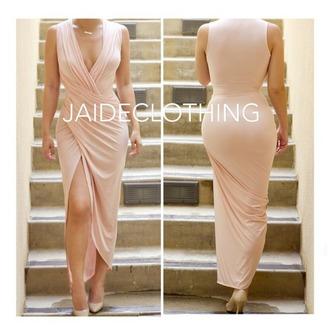 dress wrap dress nude dress summer dress thigh slit deep v neck dress
