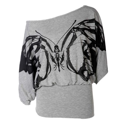 LADIES BATWING OFF SHOULDER GLITTER BUTTERFLY PRINT WOMENS DRESS TOP JUMPER 8-14 | Amazing Shoes UK