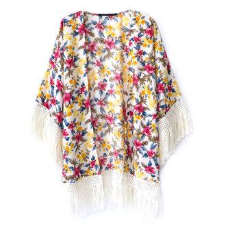 cardigan tassel kimono kimono floral print fringes tassel loose fit open front