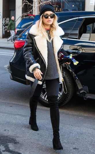 jacket fur fur jacket boots sweater rita ora winter outfits streetstyle