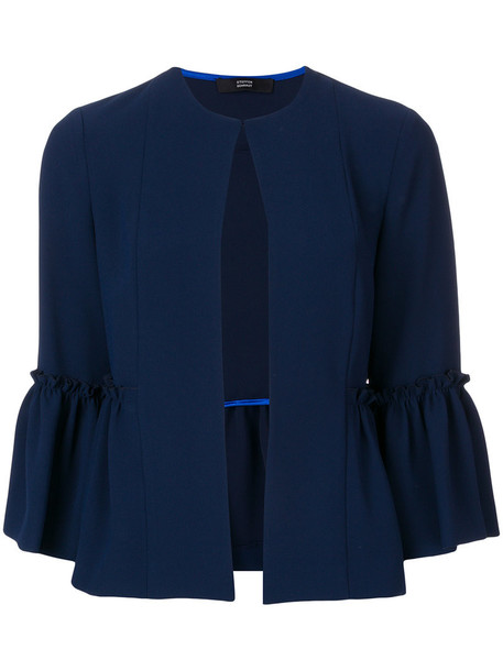 jacket ruffle women blue
