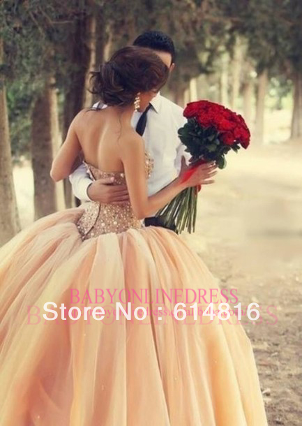 Aliexpress.com : Buy 2014 New Style Crystal Ball Gown Wedding Dresses Pale Pink Wedding Gowns White / Ivory FE1909 from Reliable gown cover suppliers on Suzhou Babyonlinedress Co.,Ltd