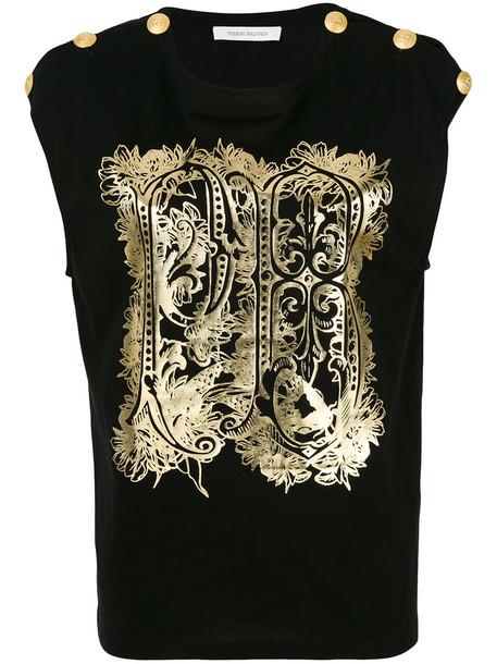 Pierre Balmain top embellished top women embellished cotton black