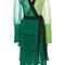 Color block pleated long sleeve wrap dress | moda operandi