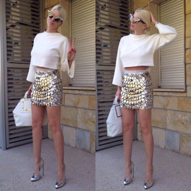 Skirt: sequins, short skirt, crop tops, crop, cropped, sunglasses ...