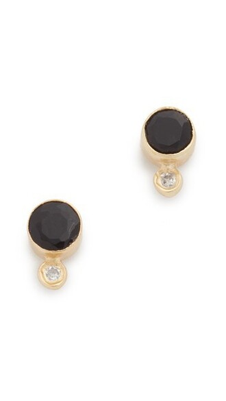 earrings gold black jewels
