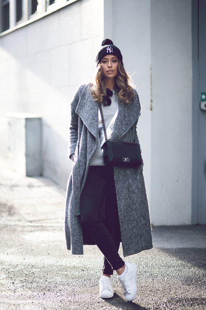 kenza blogger pom pom beanie long coat winter swag white sneakers jacket long grey coat grey coat grey long coat