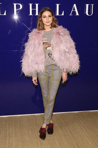 jacket fur pants olivia palermo blogger ny fashion week 2018 fashion week top