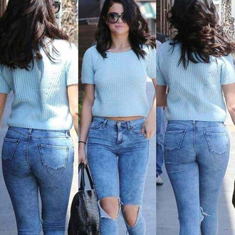 jeans selena gomez ripped jeans high waisted jeans