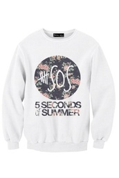 sweater,5 seconds of summer,flowers,shirt,tank top,top,5sos sweatshirt,punk rock,floral shirt,fashion,5sos tees,5sos crop top,5sos top,tumblr outfit,tumblr shirt,tumblr sweater,crewneck,style,band merch,band t-shirt,music,rock,punk,instagram,flickr,black,white,grey sweater,grey