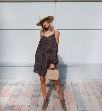 dress cold shoulder hat tumblr polka dots mini dress summer dress off the shoulder off the shoulder dress sun hat boots ankle boots shoes