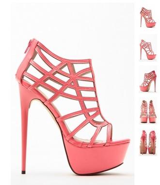 shoes high heels pumps pink high heels sandals peep toe pumps platform high heels caged heels caged sandals sandal heels salmon cute high heels open toes open toe high heels