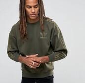 sweater,adidas,sweatshirt,army green