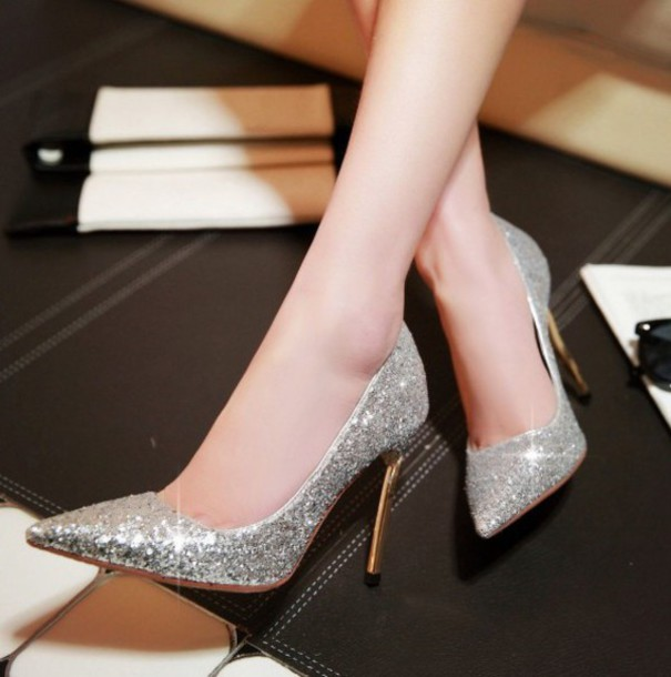 shoes silver glitter sparkle heels pumps pointed toe pumps party shoes high  heels fsjshoes