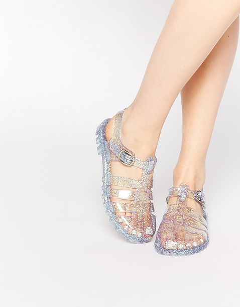 shoes clear shoes jellies transparent shoes glitter shoes