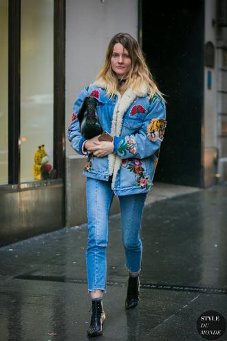 jacket tumblr blue jacket denim denim jacket shearling jacket shearling denim jacket shearling blue jeans boots black boots ankle boots streetstyle
