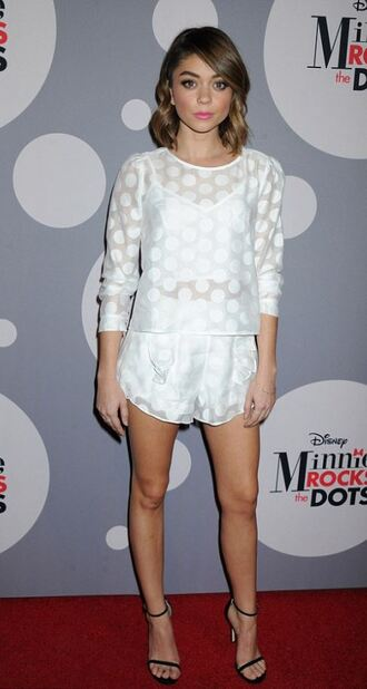 shorts top polka dots sarah hyland sandals two-piece white white top