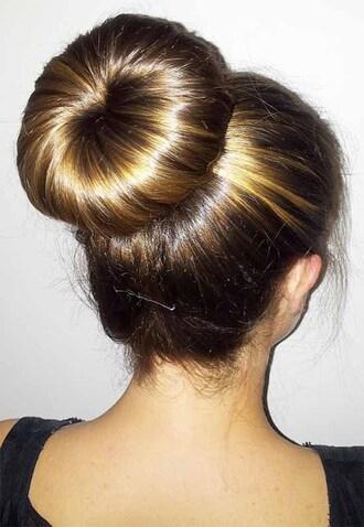 hair accessory bun bundonuts brunette