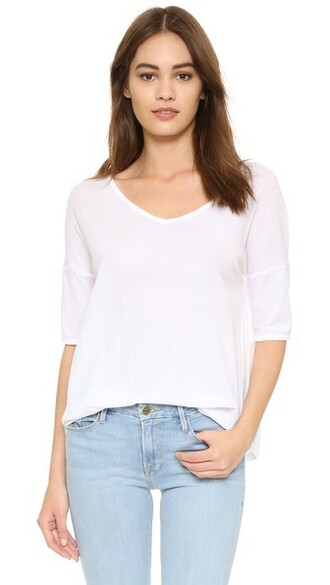 oversized v neck white top