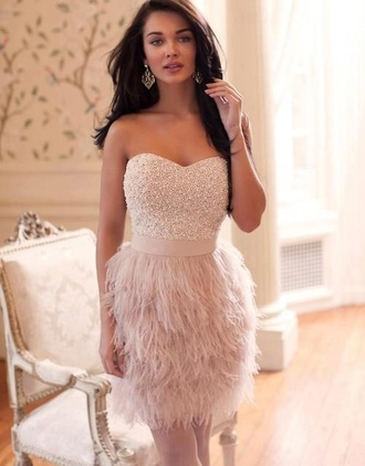 dress white dress ruffle beaded holiday dress feathers gatsby inspired dress strapless