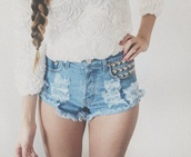 shorts,jeans,studded,studded shorts,dark,light,light blue