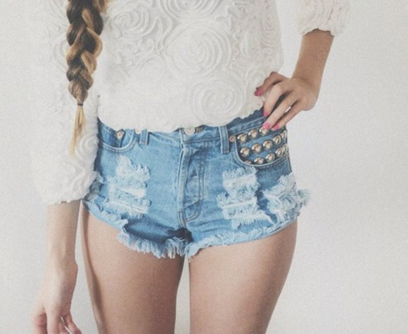 studded jeans shorts studded shorts dark light light blue
