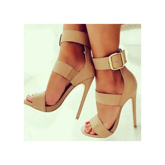 shoes nude open toes sexy beige sexy shoes light pretty amazing heels high heels ankle strap heels ankle strap strappy heels cute hot love brown fashionista trendy girly