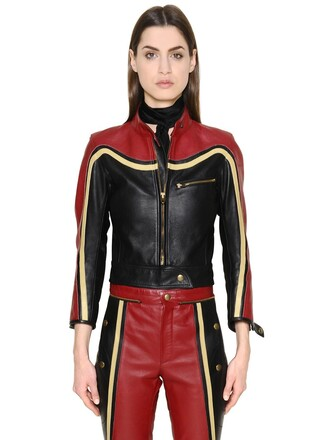 jacket leather jacket leather black red