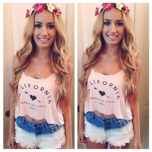tank top shorts crop tops flower headband hat
