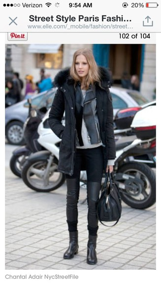 jacket edgy shoes boots coat black pants leather cute outfits fashion week