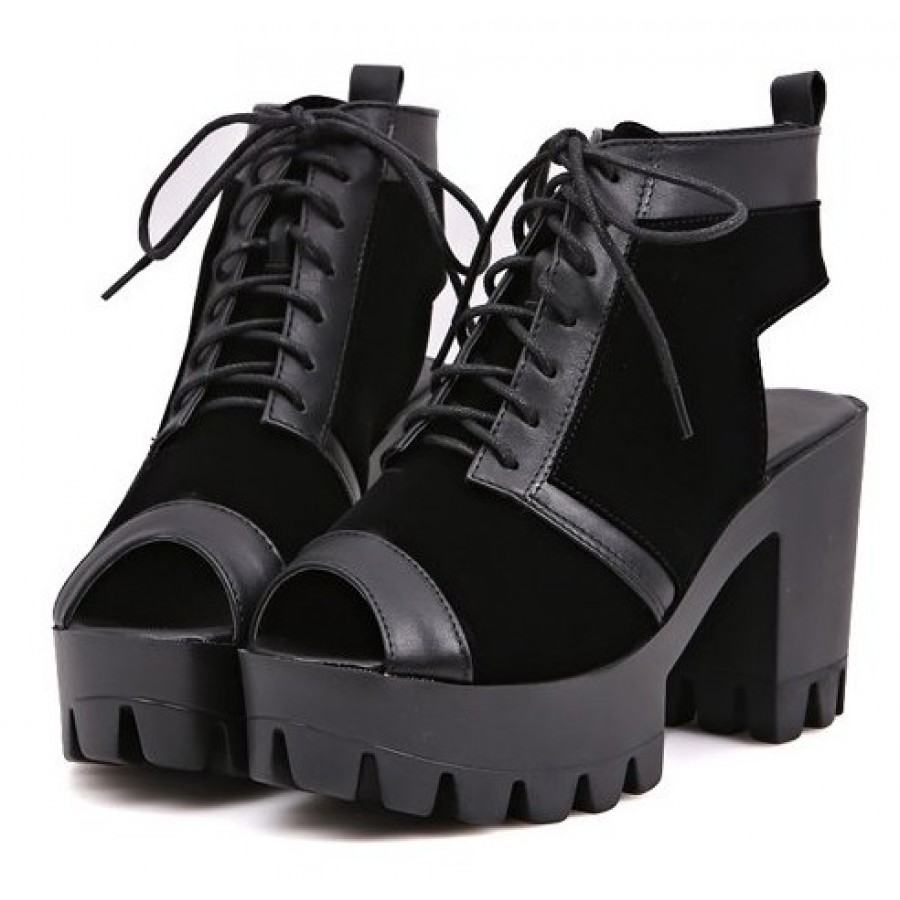 Black Chunky Platform Cleated Open Toe And Heel Boots