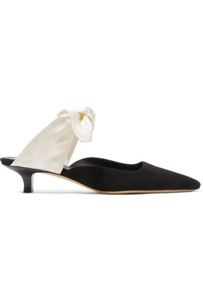 The Row pumps suede black satin shoes
