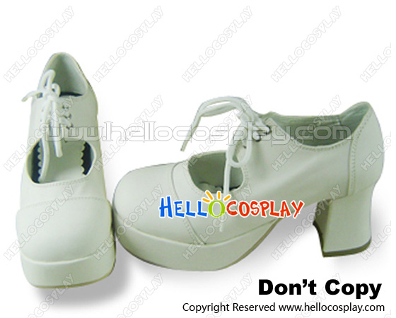 Glamorous white lace up platform chunky lolita shoes [hcs1226]