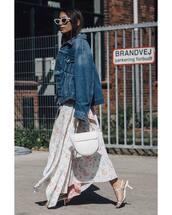 jacket,denim jacket,sandal heels,maxi skirt,sunglasses,bag,oversized jacket