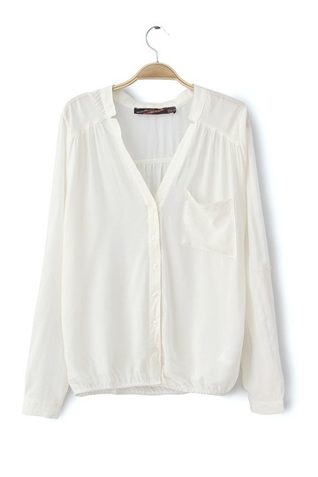 Loose Style Pure Color Roll Sleeves Shirt [FDBI00396]- US$ 21.99 - PersunMall.com