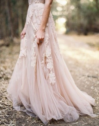 dress lace prom dress lace detail tulle skirt tulle prom dress long dress blush pink blush pink dress pink dress lace dress formal dress evening dress bridesmaid wedding dress