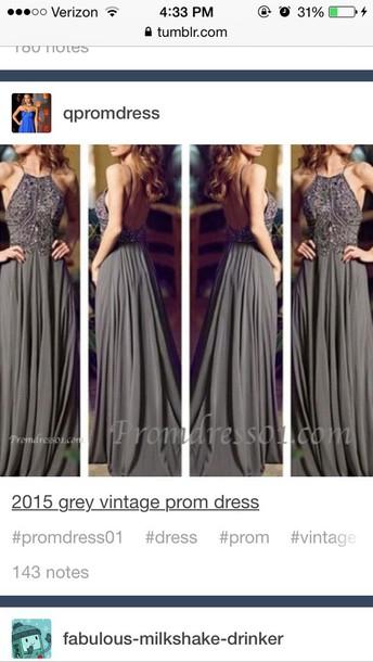 dress grey vintage prom dress jovani