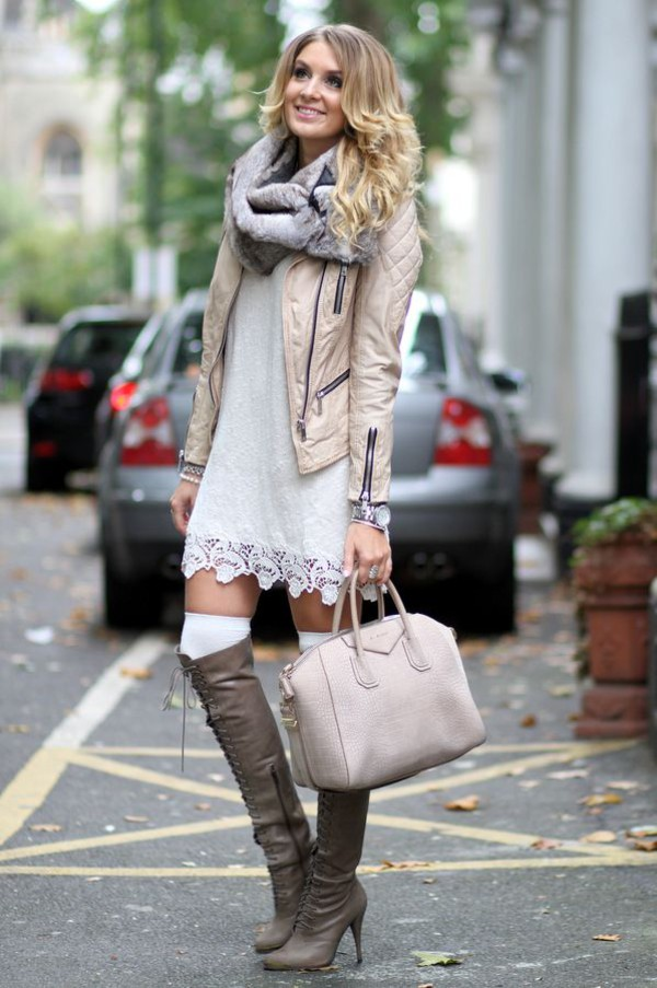 Dress Leather Jacket Bag Watch Scarf Lace White