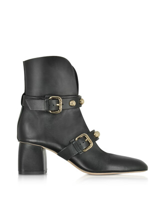 heel studs buckles booties leather black black leather shoes