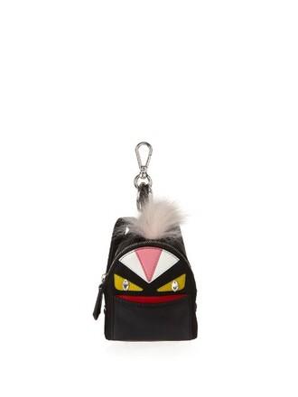 bag charm fur fox bag leather black
