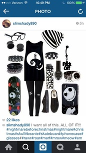 shirt,black,nightmare before christmas,emo,hat,earphones,phone cover
