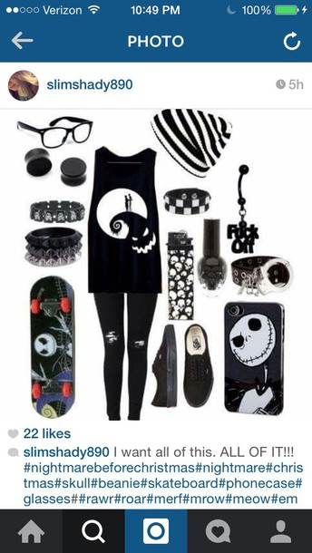 shirt black nightmare before christmas emo hat earphones phone cover